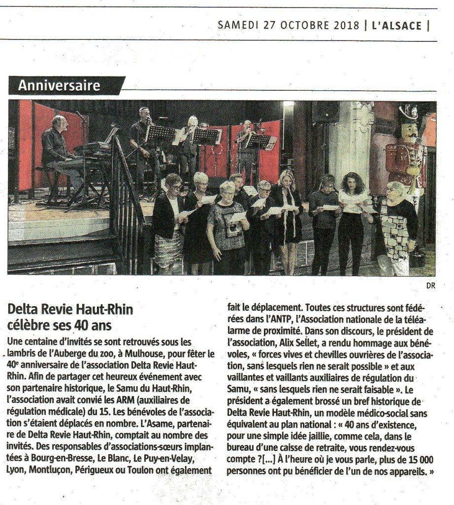 Article des 40 ans de Delta Revie paru dans L'Alsace le samedi 27 octobre 2018